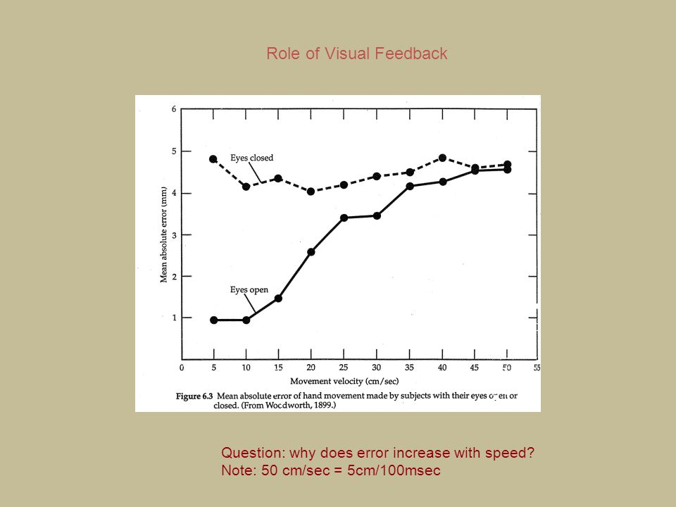 Role of Visual Feedback Question: why does error increase with speed? Note: 50 cm/sec = 5cm/100msec