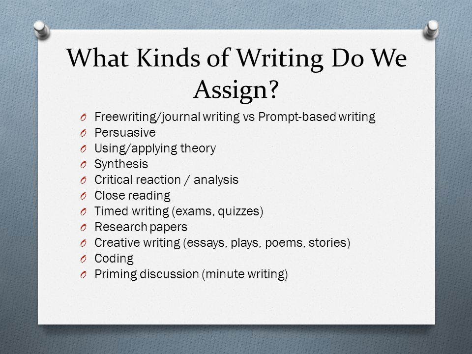 What Kinds of Writing Do We Assign? O Freewriting/journal writing vs Prompt-based writing O Persuasive O Using/applying theory O Synthesis O Critical
