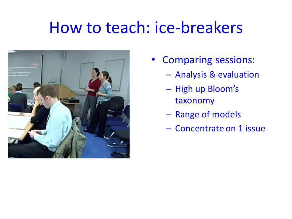 How to teach: ice-breakers Comparing sessions: – Analysis & evaluation – High up Blooms taxonomy – Range of models – Concentrate on 1 issue