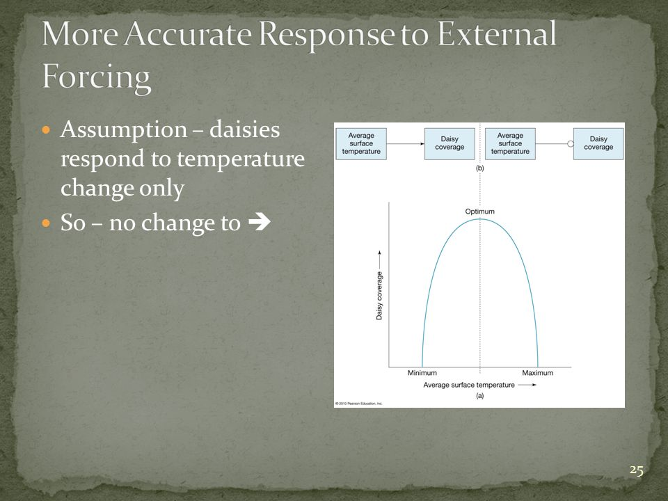 Assumption – daisies respond to temperature change only So – no change to 25