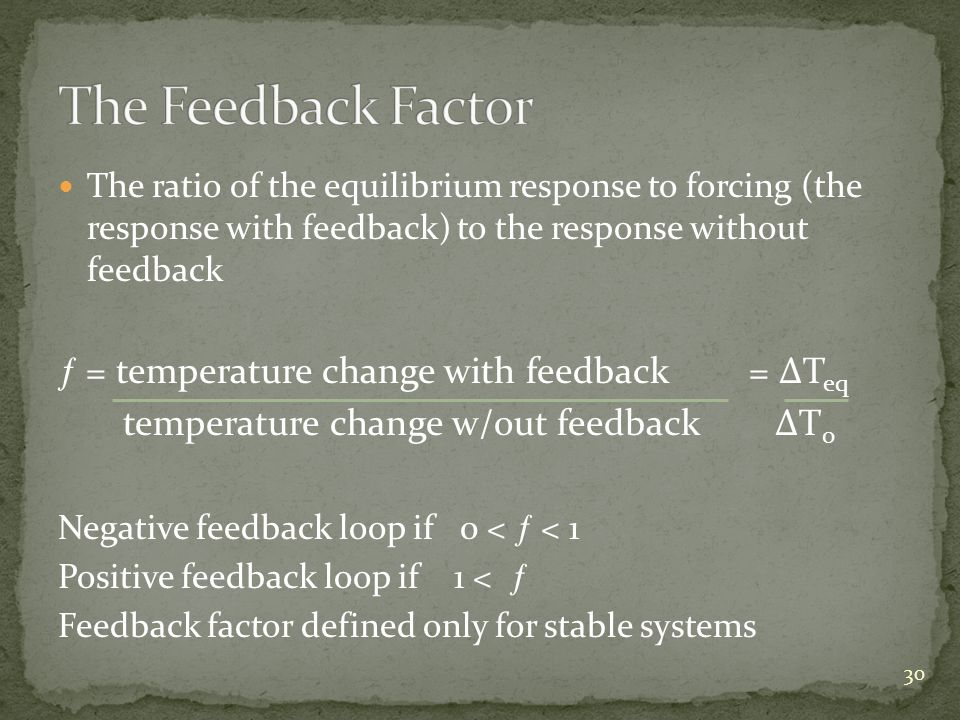 The ratio of the equilibrium response to forcing (the response with feedback) to the response without feedback = temperature change with feedback = T eq temperature change w/out feedback T 0 Negative feedback loop if 0 < < 1 Positive feedback loop if 1 < Feedback factor defined only for stable systems 30