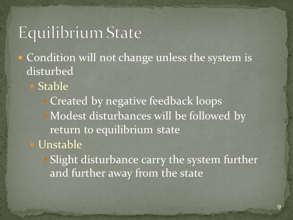 Condition will not change unless the system is disturbed Stable Created by negative feedback loops Modest disturbances will be followed by return to equilibrium state Unstable Slight disturbance carry the system further and further away from the state 9