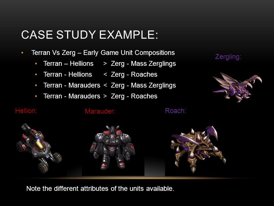 CASE STUDY EXAMPLE: Terran Vs Zerg – Early Game Unit Compositions Terran – Hellions> Zerg - Mass Zerglings Terran - Hellions < Zerg - Roaches Terran -
