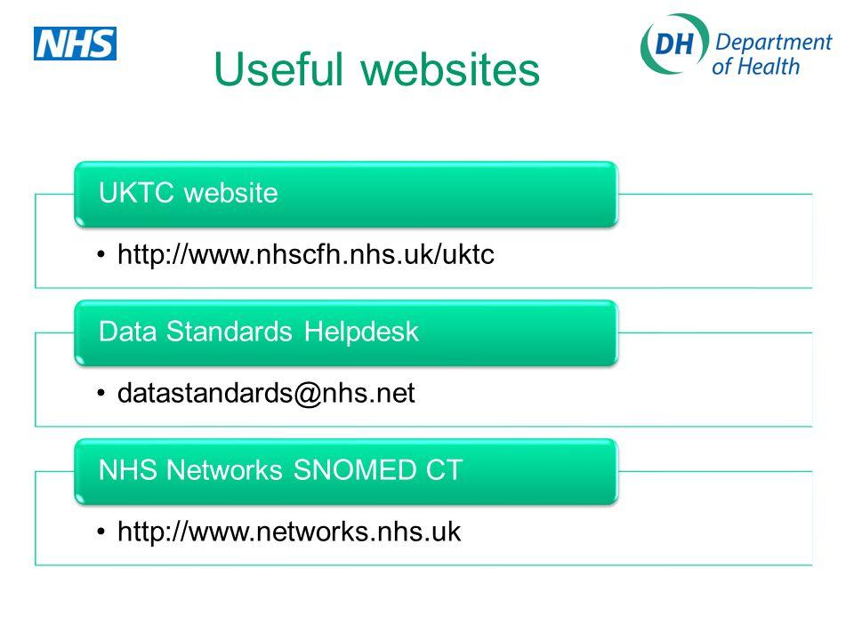 Useful websites http://www.nhscfh.nhs.uk/uktc UKTC website datastandards@nhs.net Data Standards Helpdesk http://www.networks.nhs.uk NHS Networks SNOME