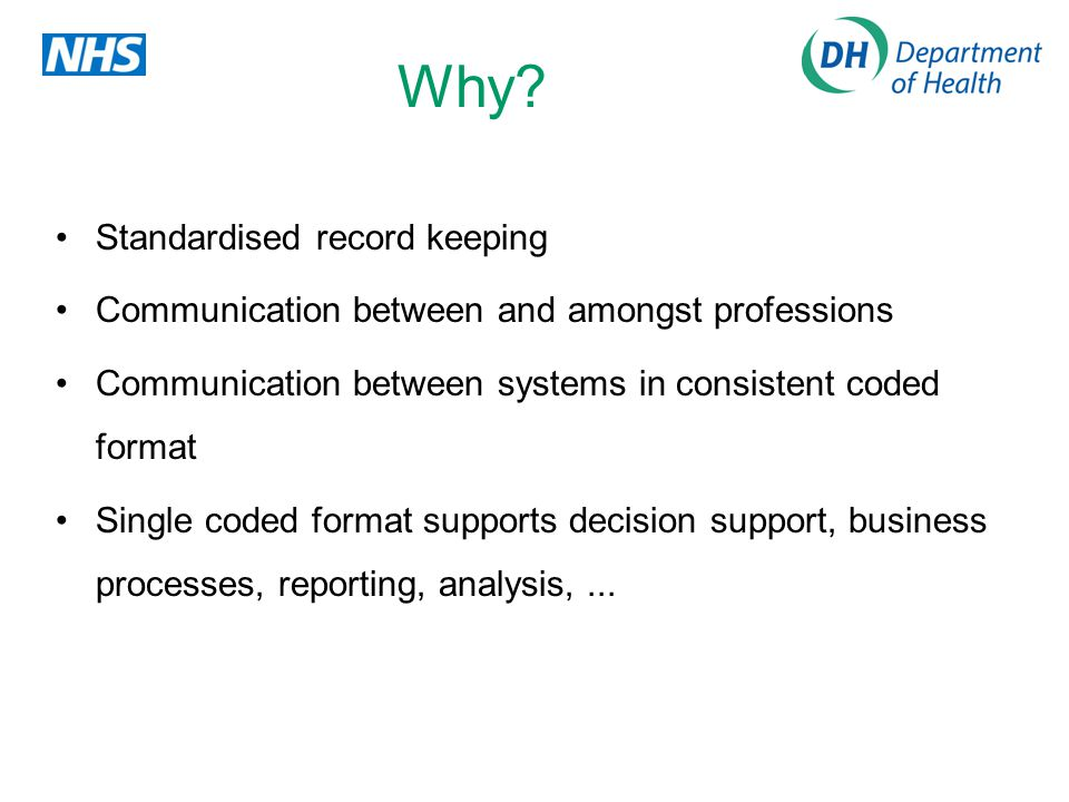 Why? Standardised record keeping Communication between and amongst professions Communication between systems in consistent coded format Single coded f