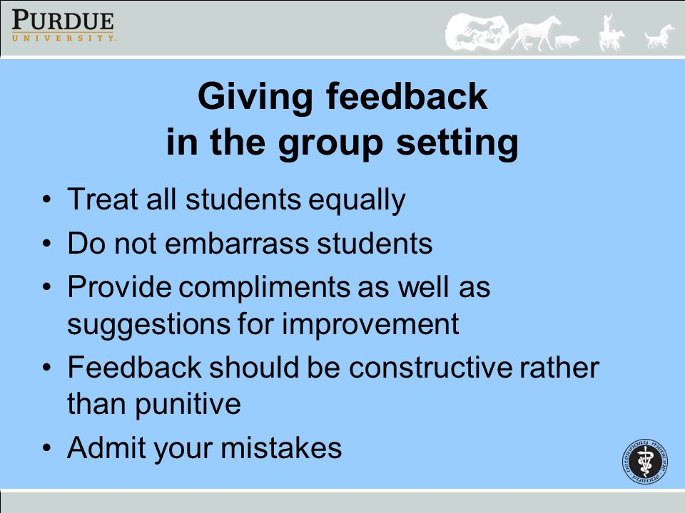 Giving feedback in the group setting Treat all students equally Do not embarrass students Provide compliments as well as suggestions for improvement F