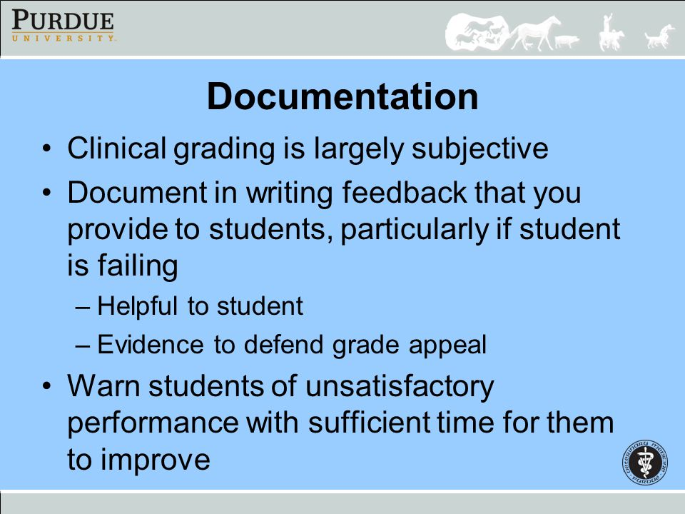 Documentation Clinical grading is largely subjective Document in writing feedback that you provide to students, particularly if student is failing –He