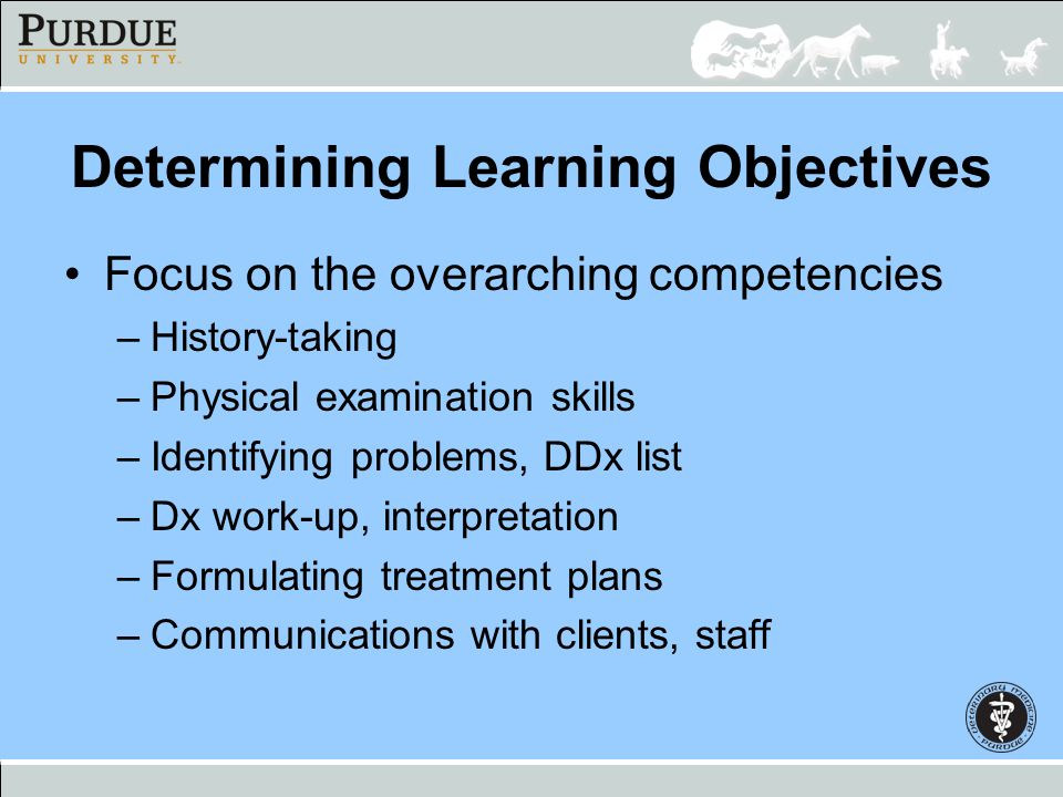 Determining Learning Objectives Focus on the overarching competencies –History-taking –Physical examination skills –Identifying problems, DDx list –Dx