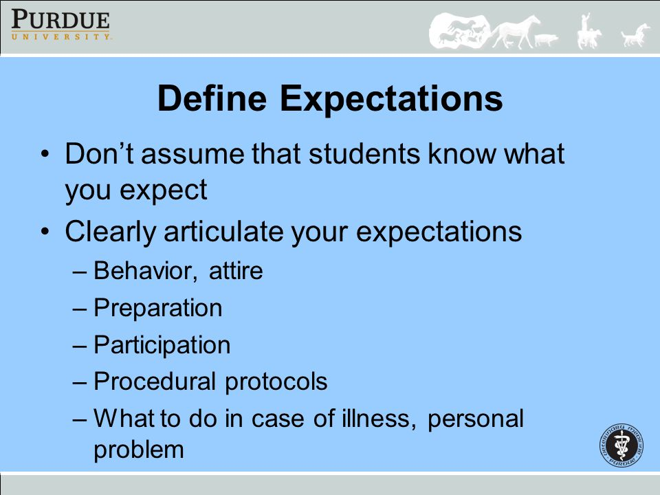 Define Expectations Dont assume that students know what you expect Clearly articulate your expectations –Behavior, attire –Preparation –Participation