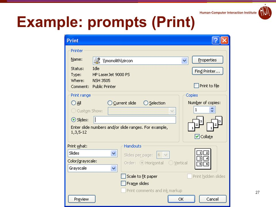 27 Example: prompts (Print)
