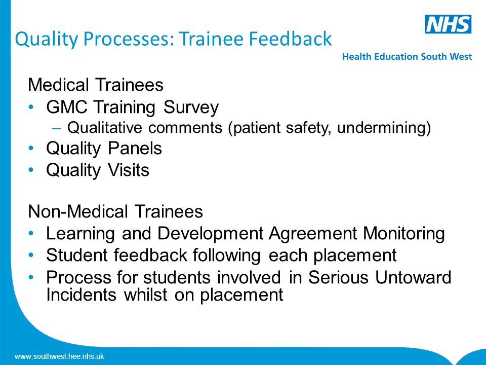 www.southwest.hee.nhs.uk Quality Processes: Trainee Feedback Medical Trainees GMC Training Survey –Qualitative comments (patient safety, undermining) Quality Panels Quality Visits Non-Medical Trainees Learning and Development Agreement Monitoring Student feedback following each placement Process for students involved in Serious Untoward Incidents whilst on placement