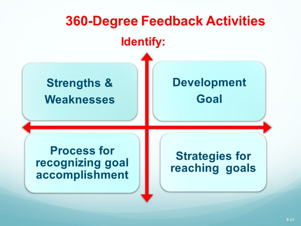 360-Degree Feedback Activities Strengths & Weaknesses Development Goal Process for recognizing goal accomplishment Strategies for reaching goals Ident