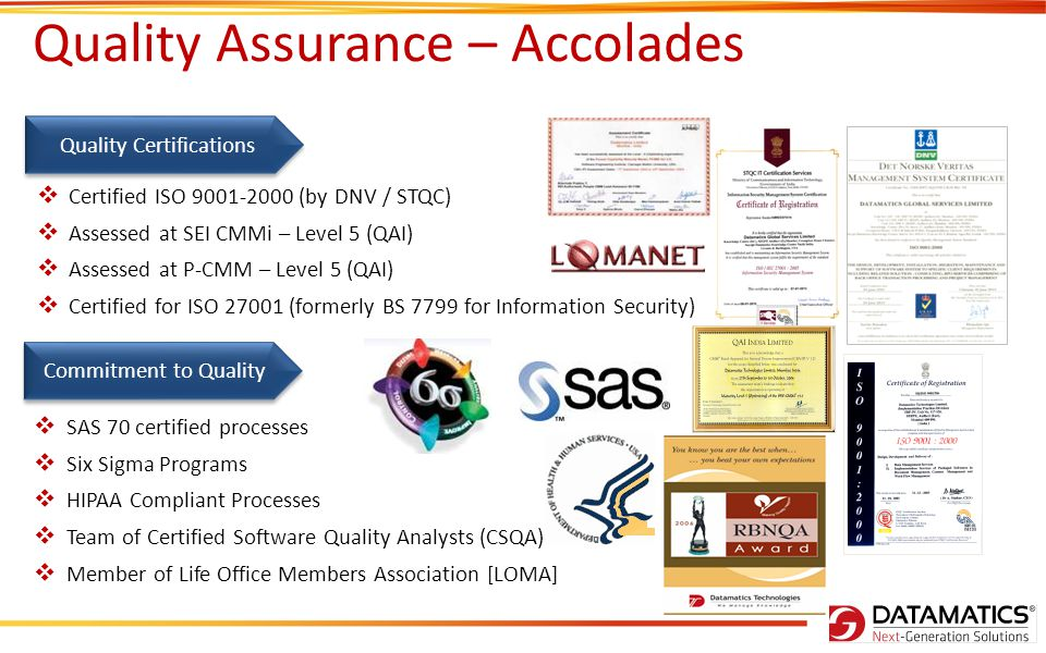 Quality Assurance – Accolades Quality Certifications Certified ISO 9001-2000 (by DNV / STQC) Assessed at SEI CMMi – Level 5 (QAI) Assessed at P-CMM –