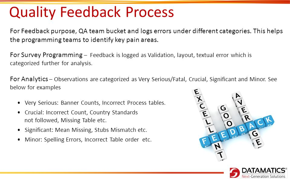Quality Feedback Process For Survey Programming – Feedback is logged as Validation, layout, textual error which is categorized further for analysis.