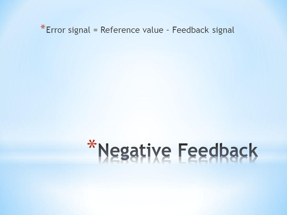 * Error signal = Reference value – Feedback signal