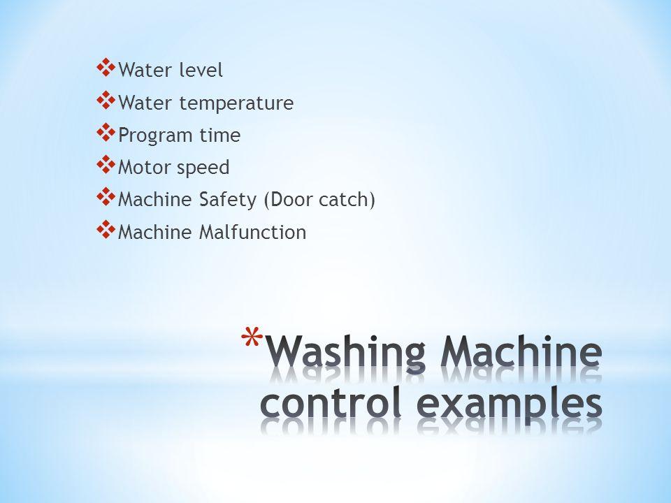 Water level Water temperature Program time Motor speed Machine Safety (Door catch) Machine Malfunction