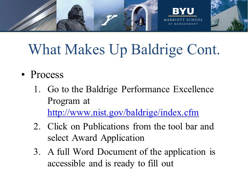 What Makes Up Baldrige Cont.