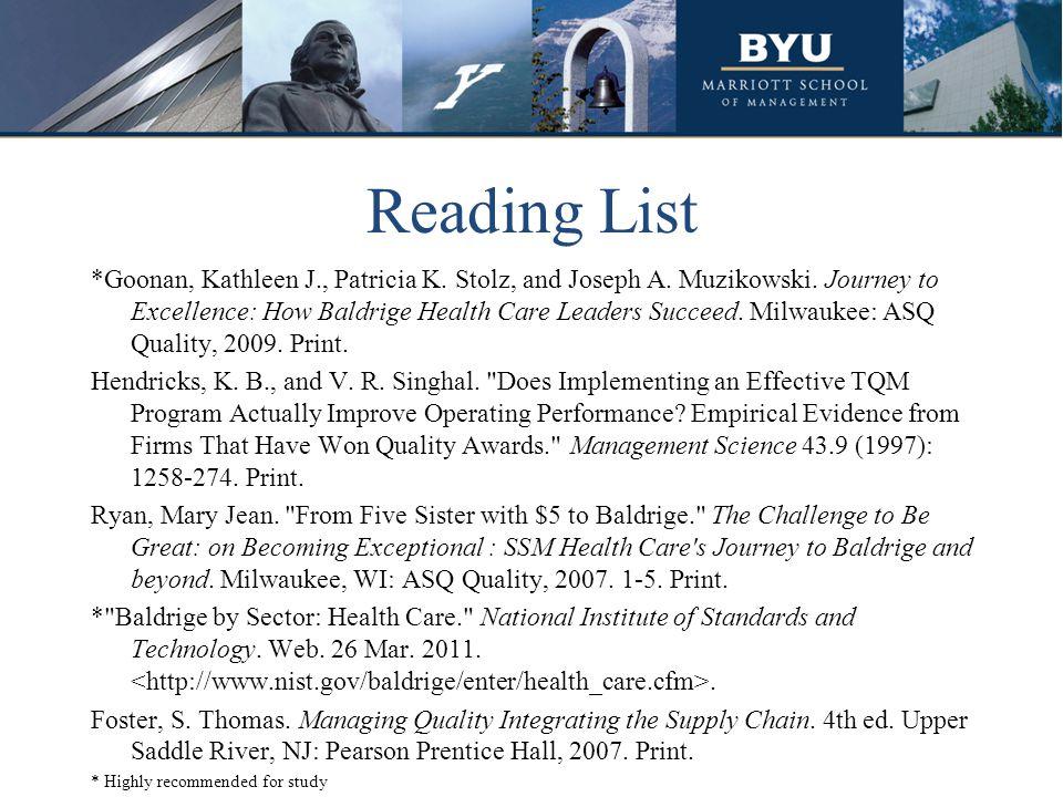 Reading List *Goonan, Kathleen J., Patricia K. Stolz, and Joseph A.