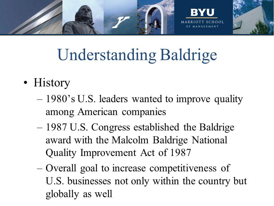 Understanding Baldrige History –1980s U.S.