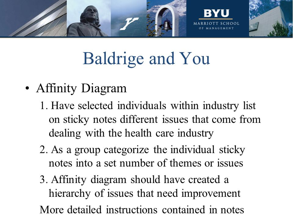 Baldrige and You Affinity Diagram 1. Have selected individuals within industry list on sticky notes different issues that come from dealing with the h