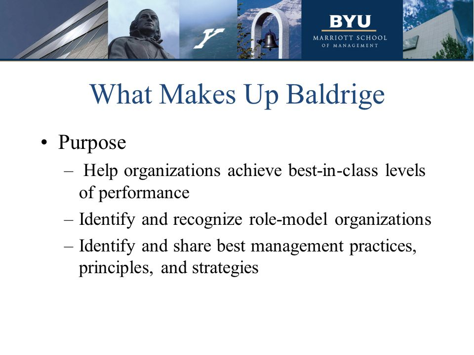 What Makes Up Baldrige Purpose – Help organizations achieve best-in-class levels of performance –Identify and recognize role-model organizations –Iden