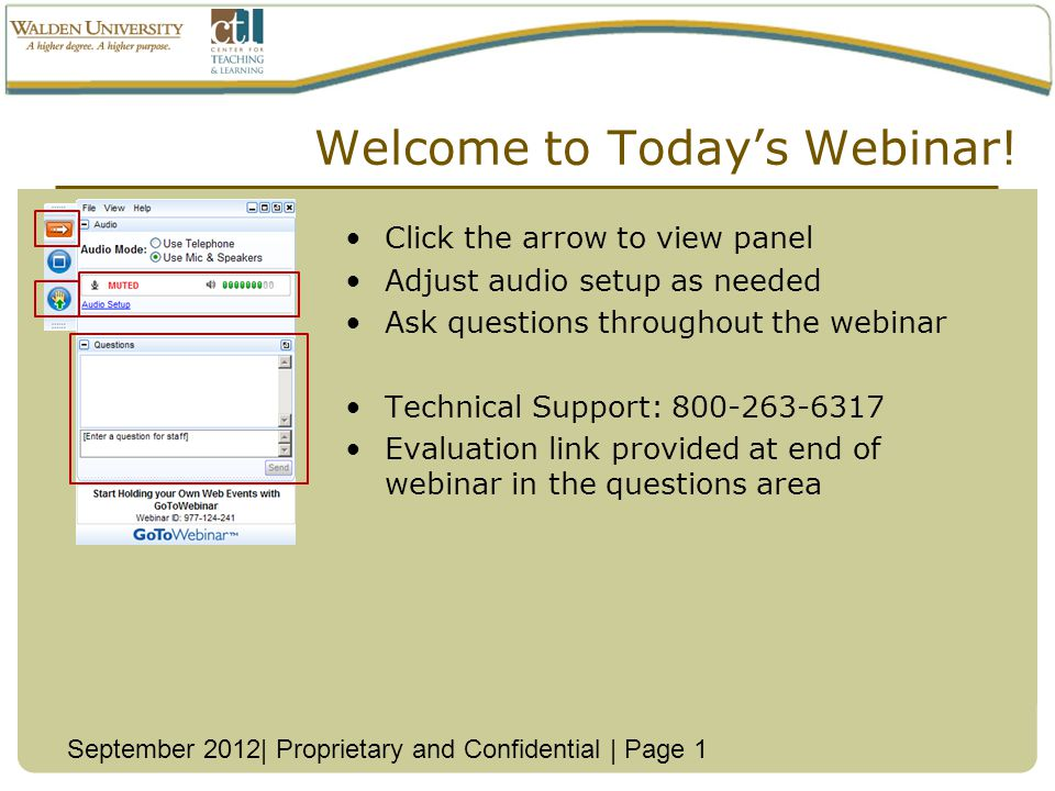 Welcome to Todays Webinar.