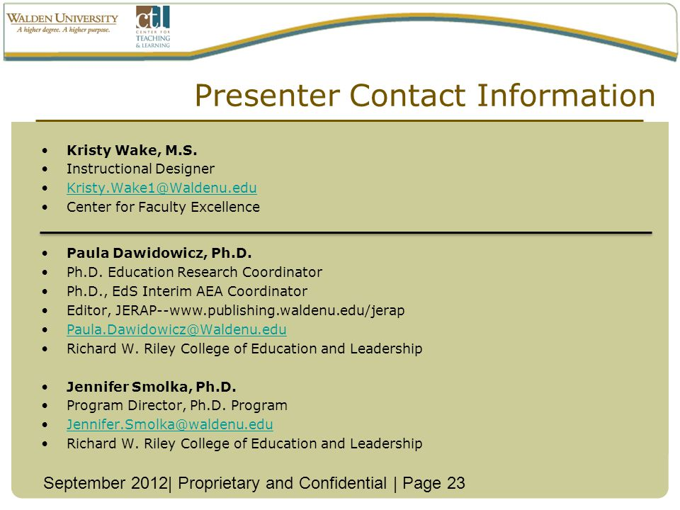 Presenter Contact Information Kristy Wake, M.S.