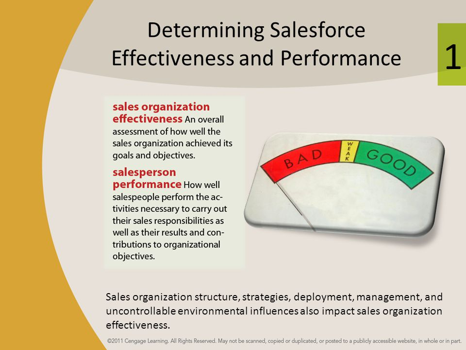 1 Determining Salesforce Effectiveness and Performance Sales organization structure, strategies, deployment, management, and uncontrollable environmen