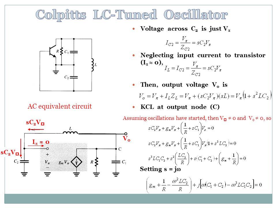 Voltage across C 2 is just V Neglecting input current to transistor (I 0), Then, output voltage V o is KCL at output node (C) Setting s = j AC equivalent circuit I π 0 sC 2 V V0V0 Assuming oscillations have started, then V 0 and V o 0, so