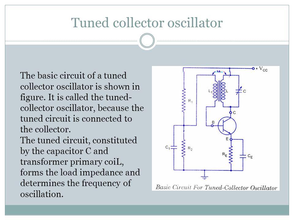 Tuned collector oscillator The basic circuit of a tuned collector oscillator is shown in figure.