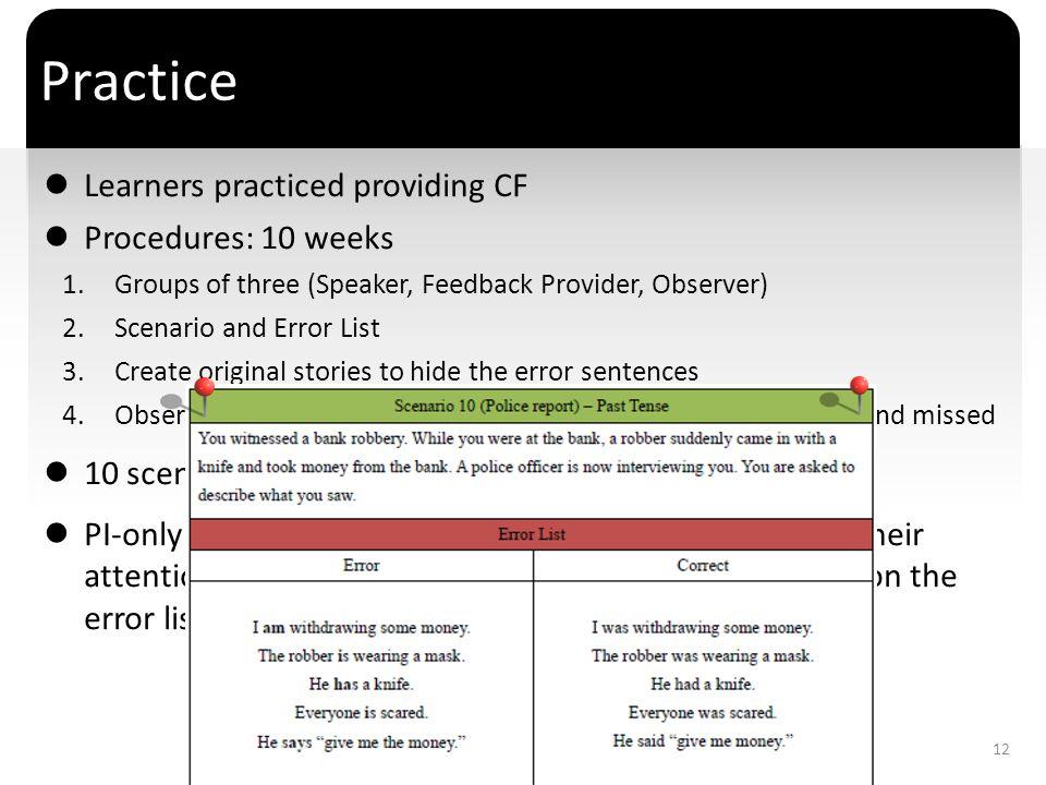 ` Practice Learners practiced providing CF Procedures: 10 weeks 1.Groups of three (Speaker, Feedback Provider, Observer) 2.Scenario and Error List 3.C