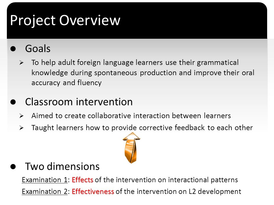 ` Project Overview Goals To help adult foreign language learners use their grammatical knowledge during spontaneous production and improve their oral