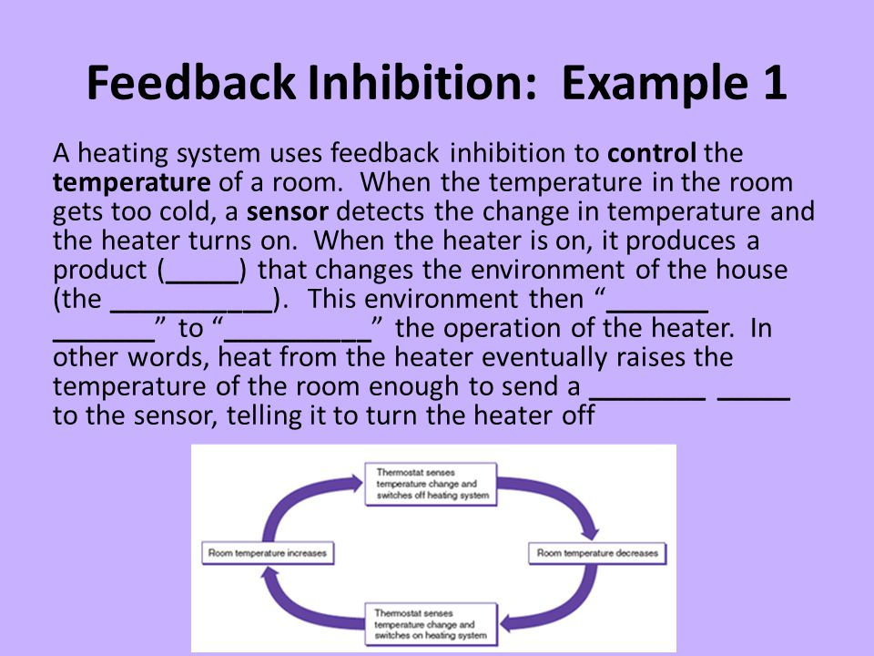 Feedback Inhibition: Example 1 A heating system uses feedback inhibition to control the temperature of a room. When the temperature in the room gets t