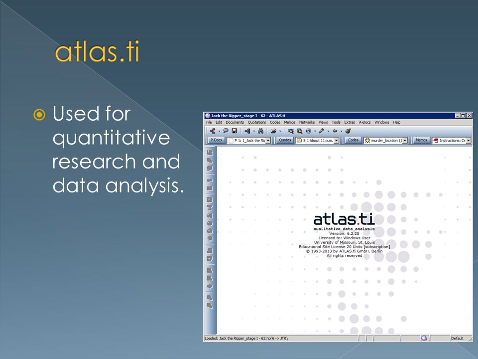 Used for quantitative research and data analysis.