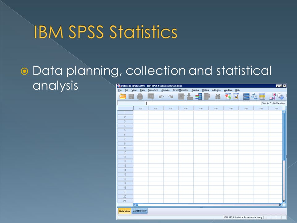 Data planning, collection and statistical analysis