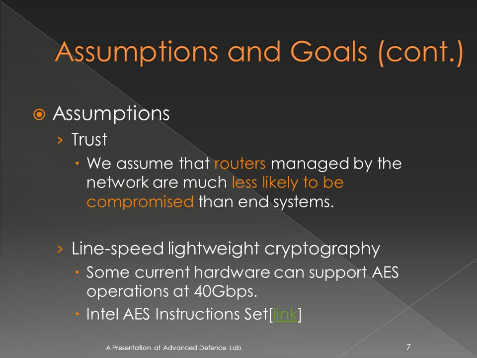 A Presentation at Advanced Defence Lab 38