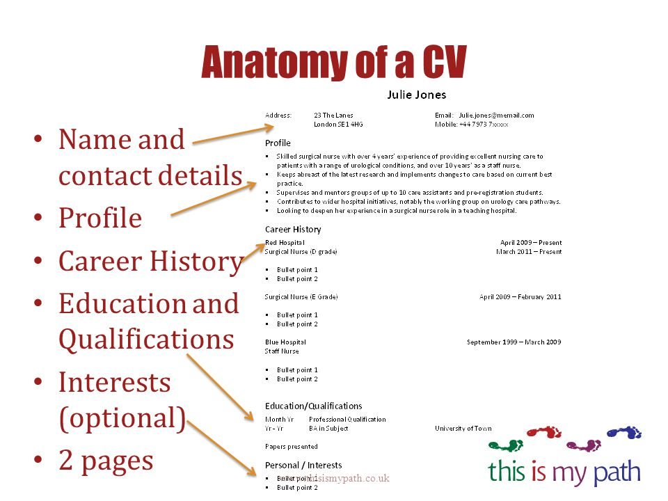 Anatomy of a CV Name and contact details Profile Career History Education and Qualifications Interests (optional) 2 pages www.thisismypath.co.uk