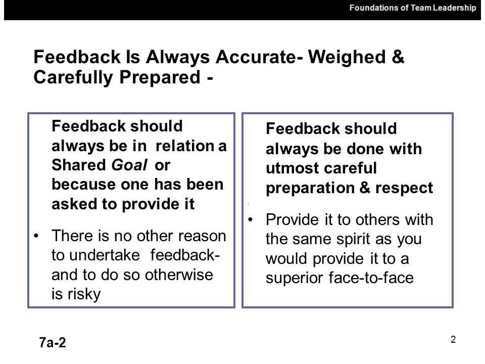 Foundations of Team Leadership 7a-2 2 Feedback should always be in relation a Shared Goal or because one has been asked to provide it There is no other reason to undertake feedback- and to do so otherwise is risky Feedback should always be done with utmost careful preparation & respect.