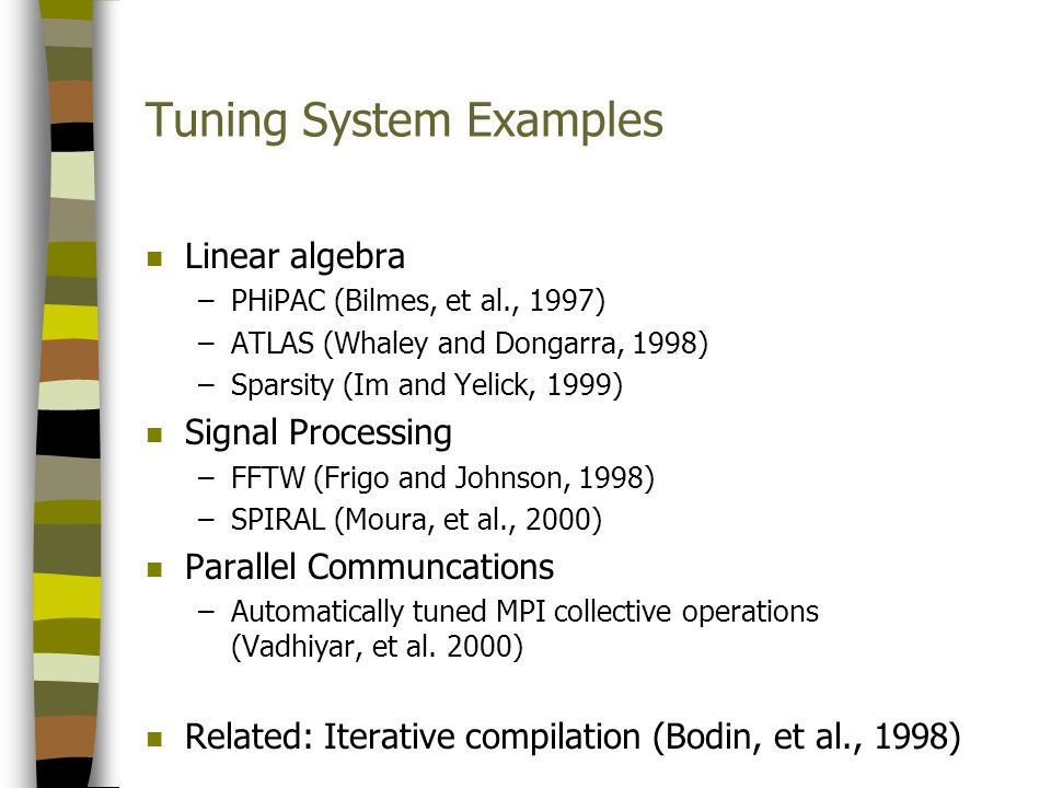 Tuning System Examples n Linear algebra –PHiPAC (Bilmes, et al., 1997) –ATLAS (Whaley and Dongarra, 1998) –Sparsity (Im and Yelick, 1999) n Signal Processing –FFTW (Frigo and Johnson, 1998) –SPIRAL (Moura, et al., 2000) n Parallel Communcations –Automatically tuned MPI collective operations (Vadhiyar, et al.