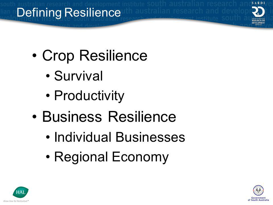 Defining Resilience Crop Resilience Survival Productivity Business Resilience Individual Businesses Regional Economy