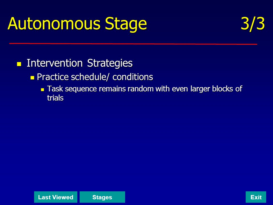 Autonomous Stage 3/3 Intervention Strategies Intervention Strategies Practice schedule/ conditions Practice schedule/ conditions Task sequence remains random with even larger blocks of trials Task sequence remains random with even larger blocks of trials Last ViewedStagesExit