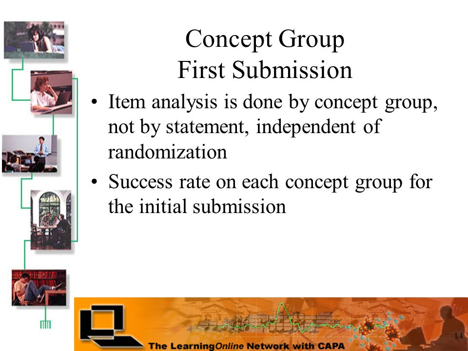 14 Concept Group First Submission Item analysis is done by concept group, not by statement, independent of randomization Success rate on each concept group for the initial submission