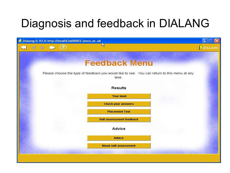 Diagnosis and feedback in DIALANG