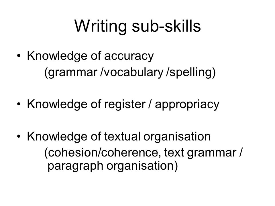 Writing sub-skills Knowledge of accuracy (grammar /vocabulary /spelling) Knowledge of register / appropriacy Knowledge of textual organisation (cohesion/coherence, text grammar / paragraph organisation)