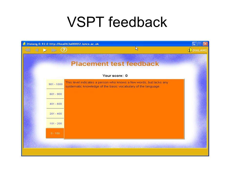 VSPT feedback