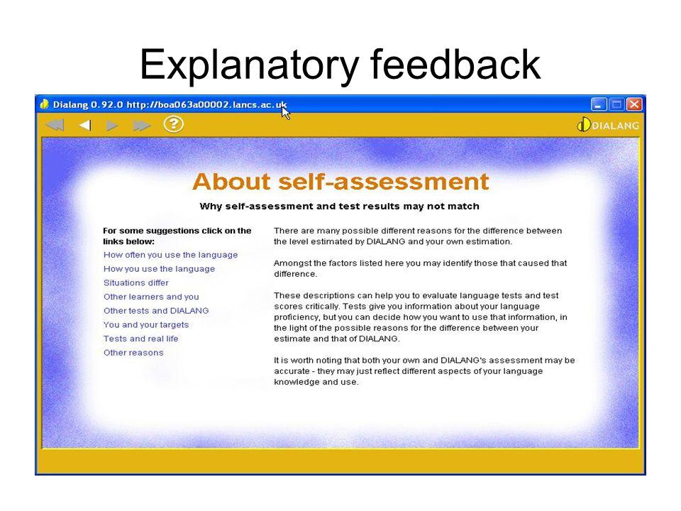 Explanatory feedback