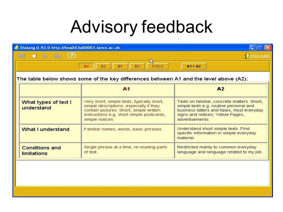 Advisory feedback
