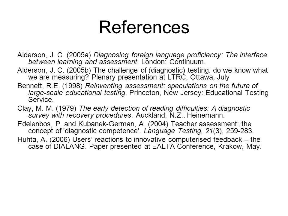 References Alderson, J.C.