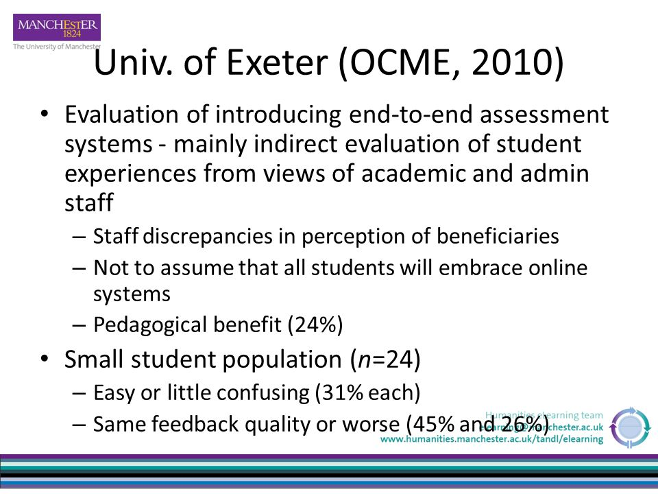 Univ. of Exeter (OCME, 2010) Evaluation of introducing end-to-end assessment systems - mainly indirect evaluation of student experiences from views of