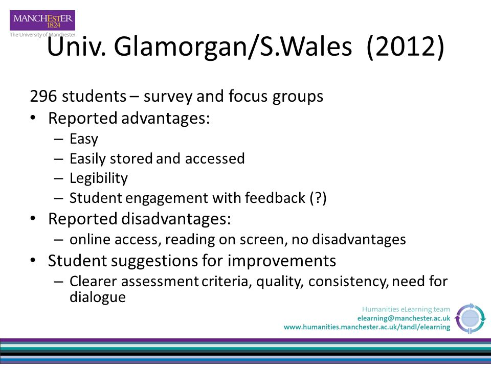 Univ. Glamorgan/S.Wales (2012) 296 students – survey and focus groups Reported advantages: – Easy – Easily stored and accessed – Legibility – Student